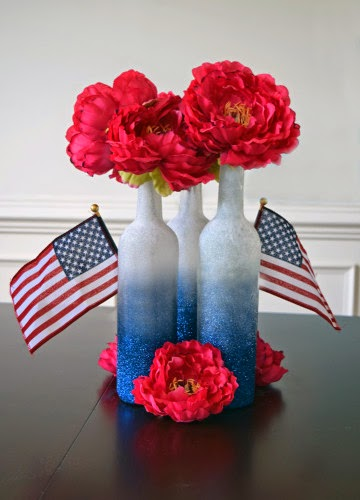 Patriotic Centerpiece DIY Ombre Bottles