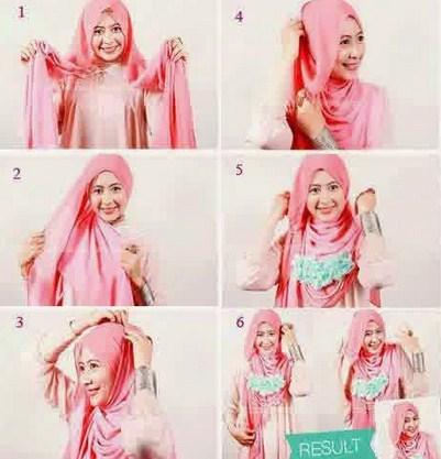 Contoh Tutorial Cara Memakai Hijab Modern yang Menutupi Dada