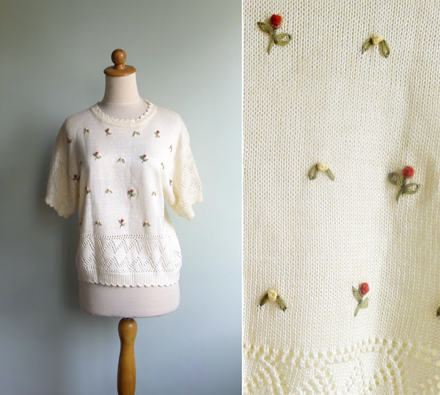 vintage rosebud knit top