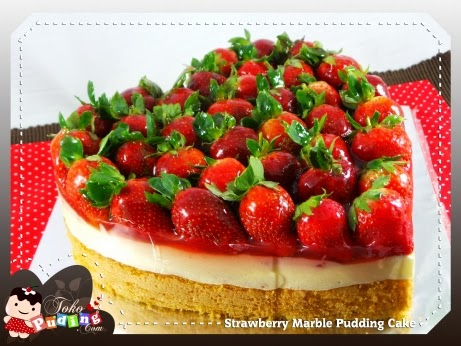 Strawberry Marble Cake Pudding - D'licious Pudding