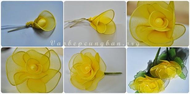 Cách làm cây hoa Mai bằng vải voan (lụa) đón Tết 8