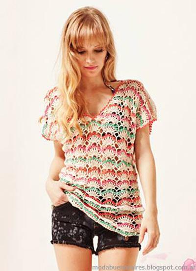 Moda verano 2014 Florencia Llompart remeras tejidas 2014.