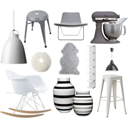 Skeidar // Grå stol - Hay // Kitchen Aid // Hvit rund lampe - Skeidar ...