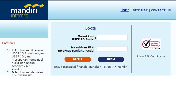 BANK MANDIRI : Internet Banking Mandiri