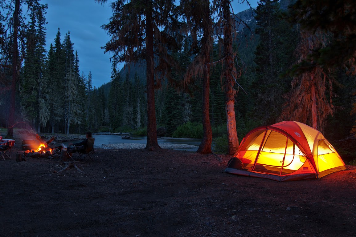 camping on the river night shot.