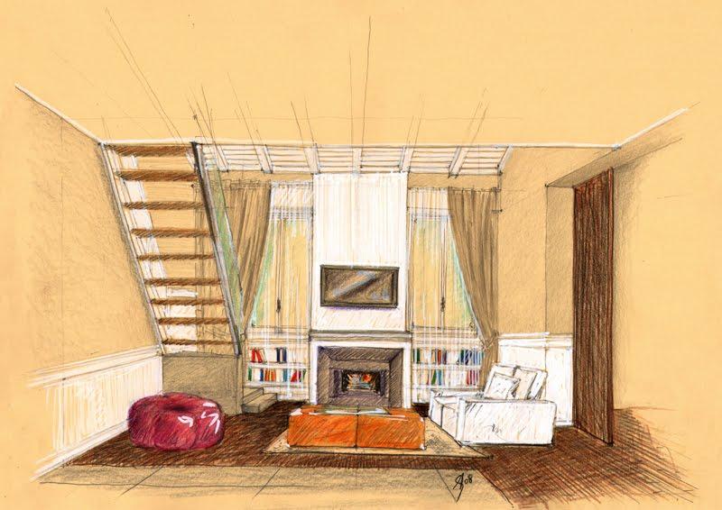 Vent'anni di disegni dell'Arch. Antonio Saporito: Schizzi di interni con soppalco