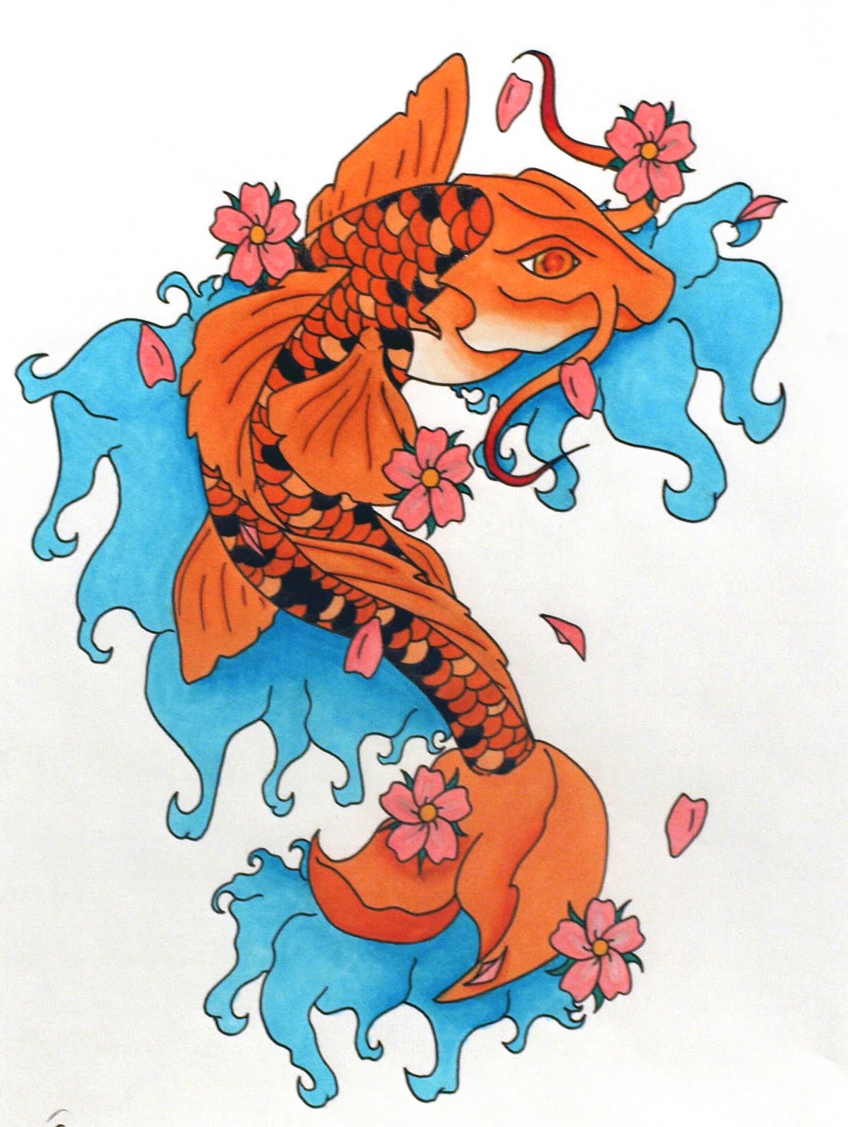 Tatouage chinois motifs et symbolique du tatouage chinois - Tatouage Carpe Koi Signification