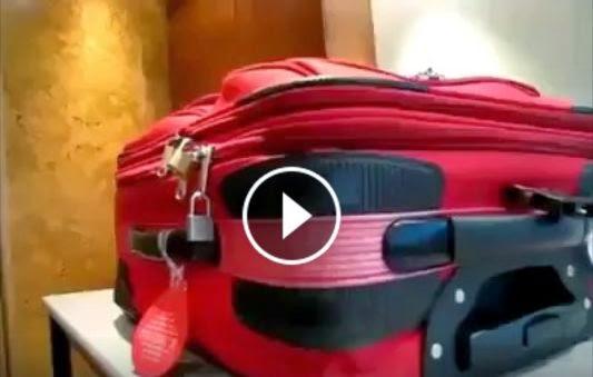 لكل المسافرين شاهدو كيف تسرق محتويات حقائب السفر