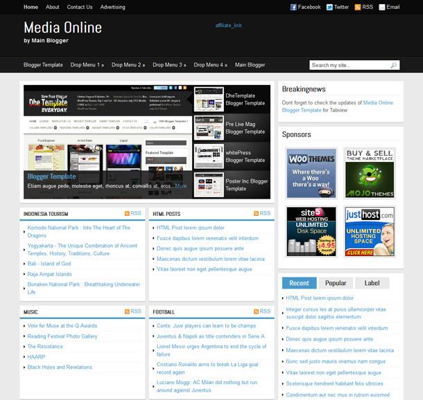 media online blogger template