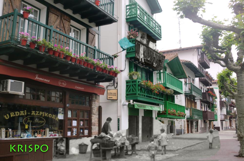 superposición de foto antigua y actual de calle san pedro hondarribia