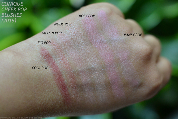 Clinique Cheek Pop Blushes 2015 Makeup Swatches Cola Fig Melon Nude Rsy Pansy Pink Heather