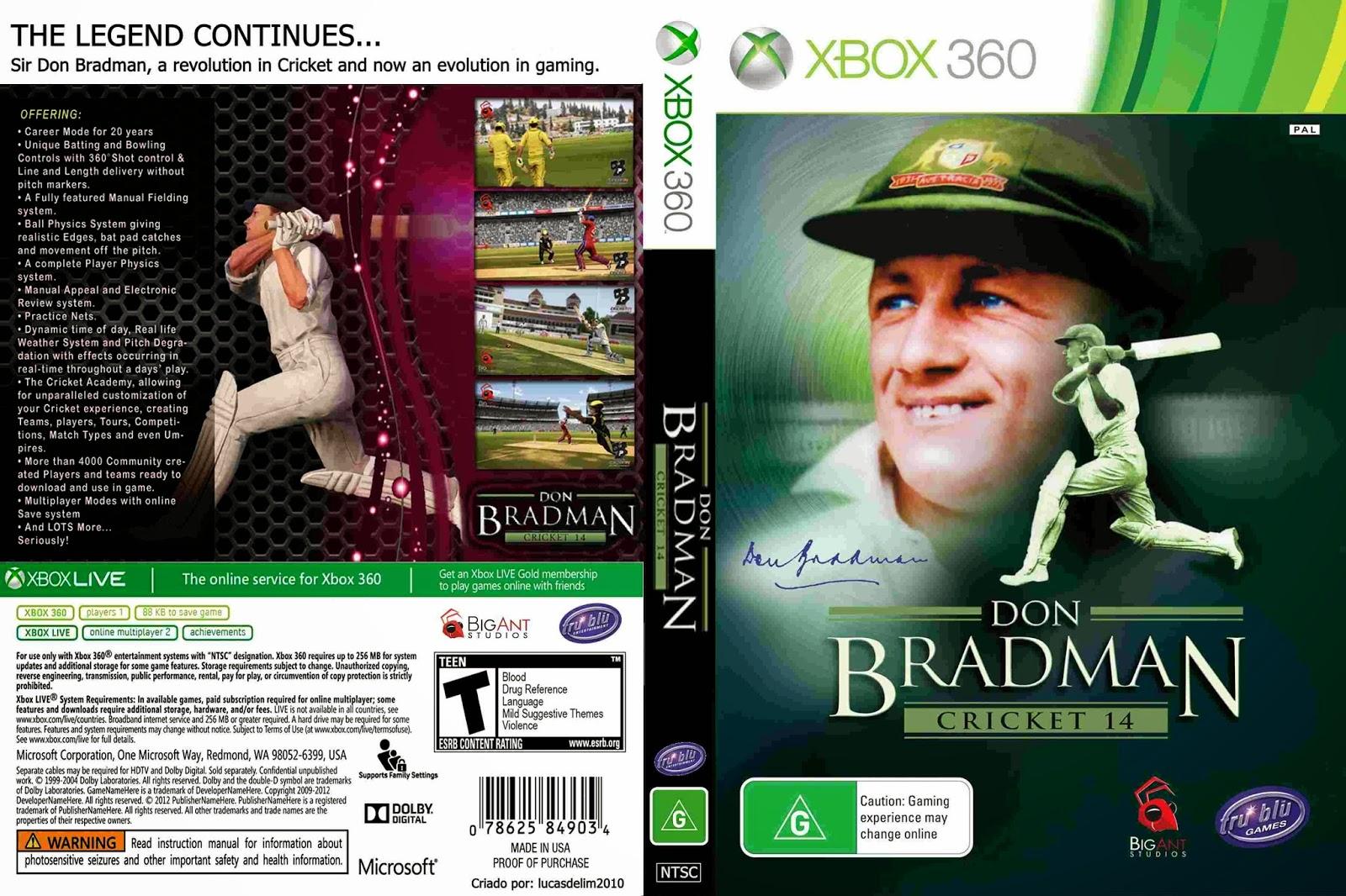 Don Bradman Cricket 14 (2014) - Capa Game XBox 360