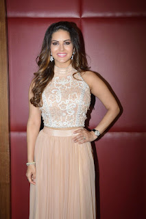 Sunny Leone looks Gorgeous in Brown Skin Colored Tight Chli Skirt Promoting her movie Spicy Pics
