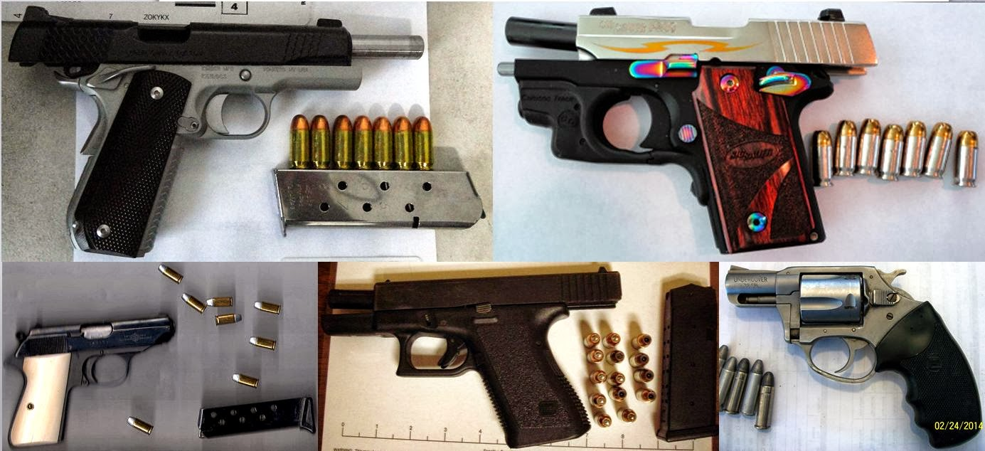Firearms Discovered at (L-R / T-B) BTR, HOU, PHX, SAT, TRI