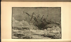 <br />Engraving of ship Jeannette being abandoned