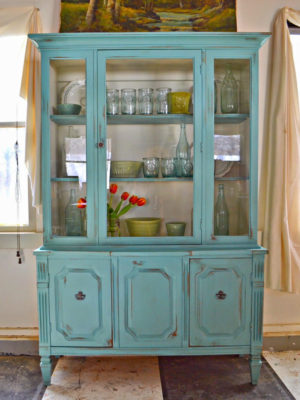 Heir and Space: A Vintage Hutch in White and Aqua