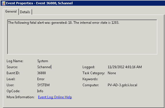 LazyJeff: The following fatal alert was generated: 10 EVENT ID 36888