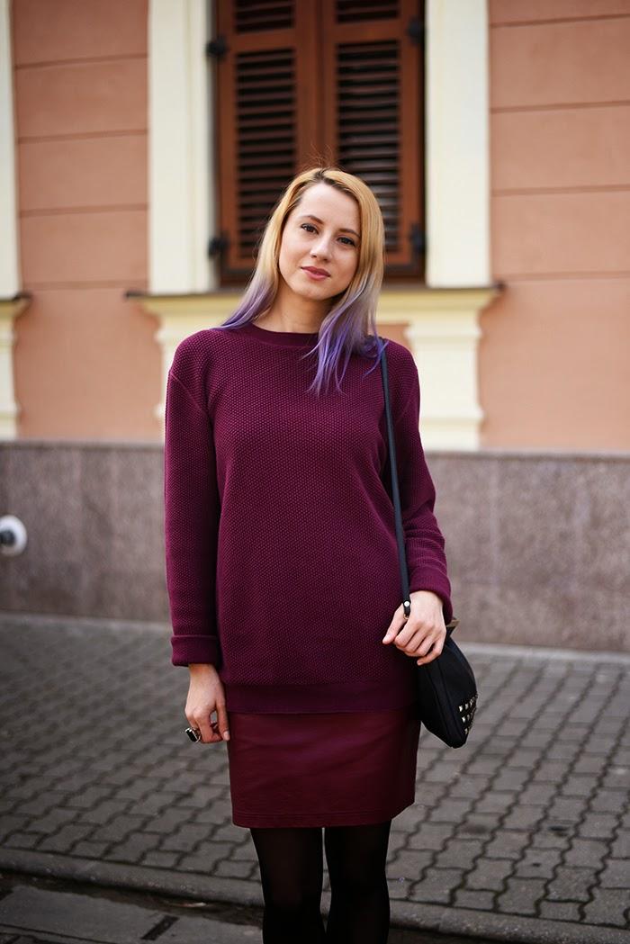 Skinny Buddha burgundy sweater faux leather skirt marsala