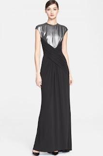 ESCADA Foiled Bodice Cross Drape Jersey Gown