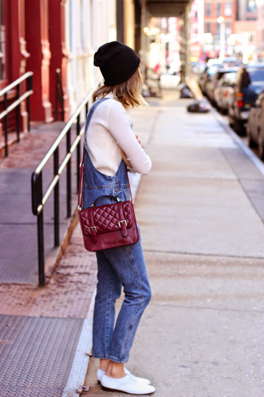 soho street style, nyc vintage fashion blogger, F21 beanie, F21 crossbody, steffy degreff