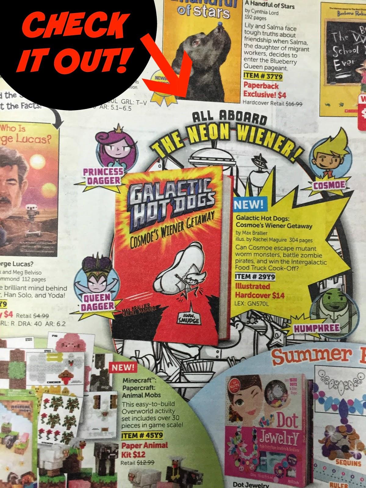Galactic Hot Dogs: Cosmoe's Wiener Getaway in Scholastic Book flyer