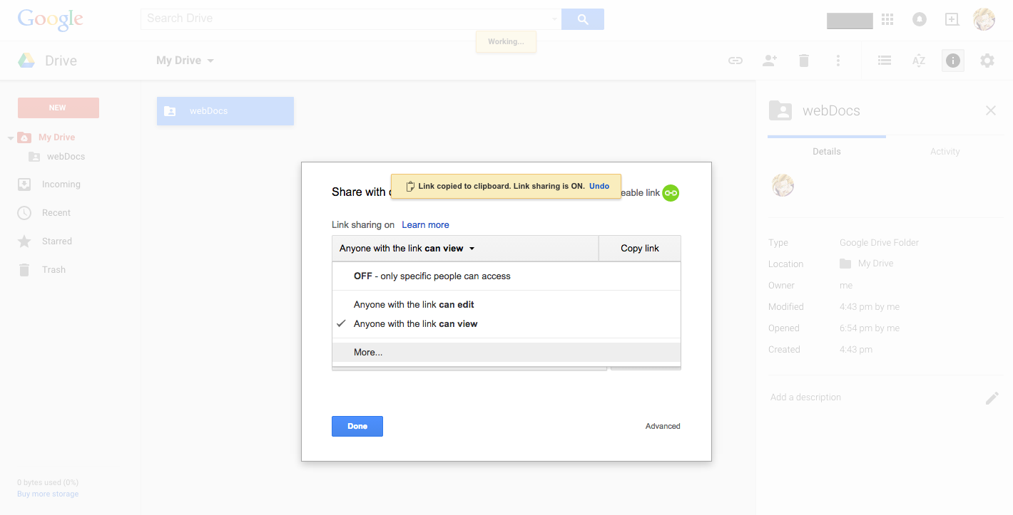 how to stop sharing files on google drive