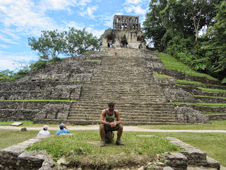 Steps up to Templo de la Cruz at Palenque in Mexico