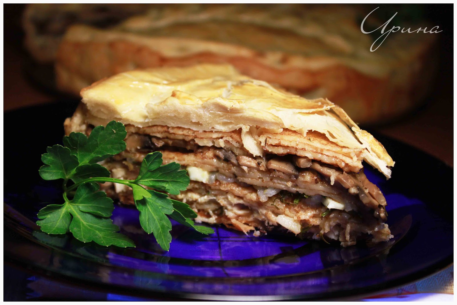 Рецепт курника с курицей и грибами из блинов пошагово