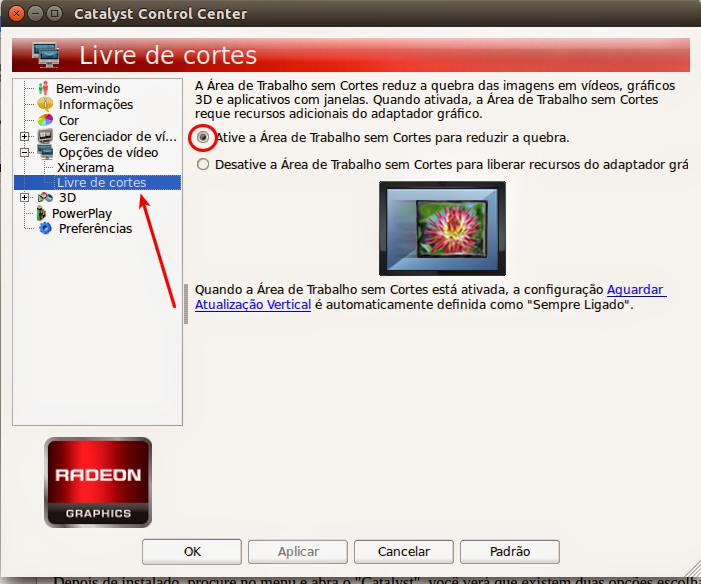 Aŕea de Trabalho Livre de Cortes ATI - Ubuntu