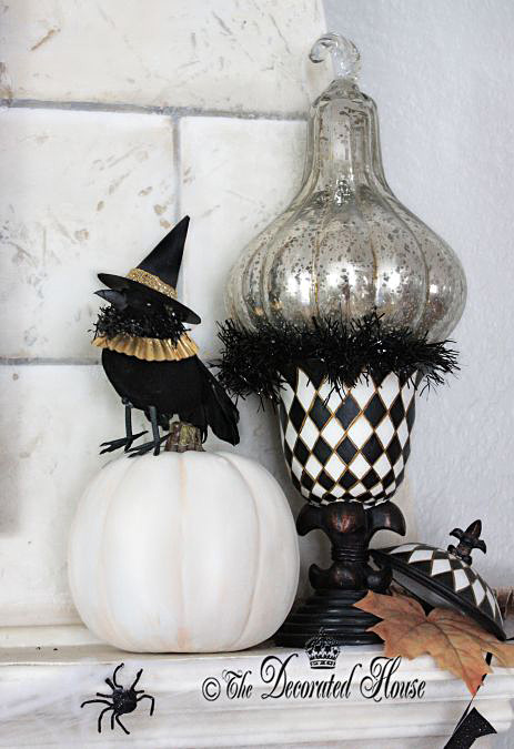 Elegant Halloween Decor Black and White :: The Decorated House : Mercury Glass Pumpkin Annie Sloan Chalk Paint Pumpkins : Crow with Hat