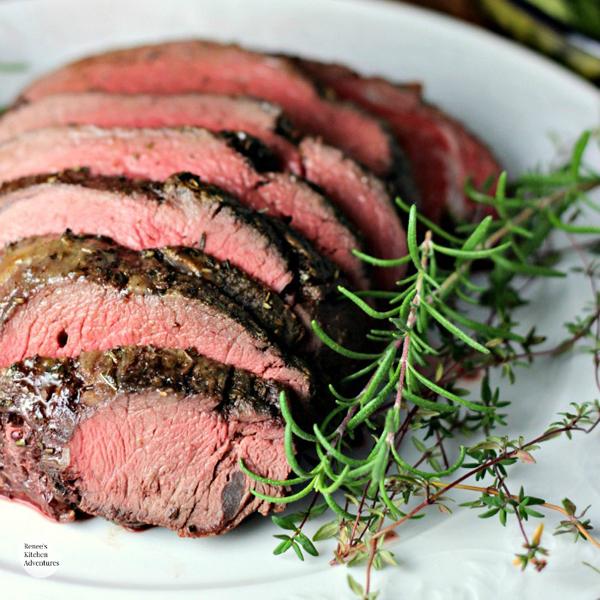 Garlic Herb Beef Tenderloin Roast with Creamy Horseradish Sauce by Renee's Kitchen Adventures