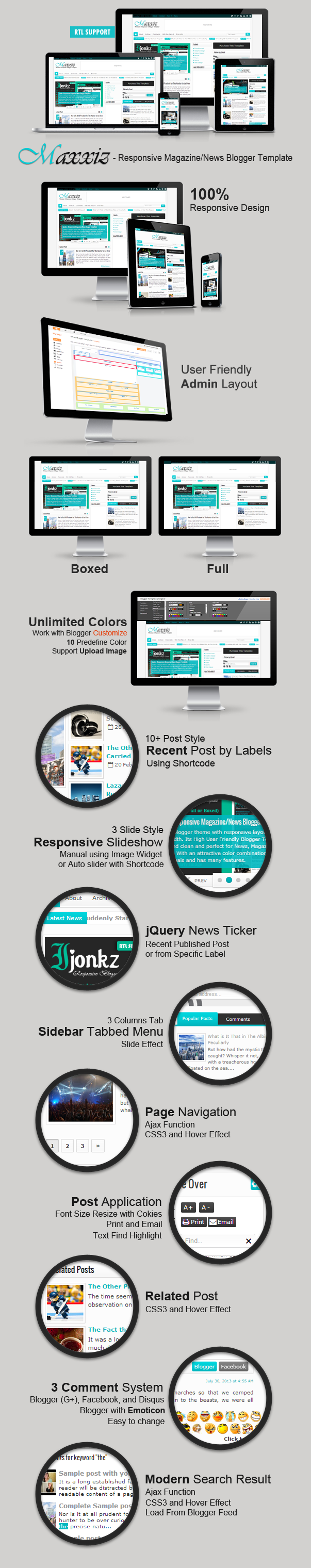 Maxxiz Responsive Magazine/News Blogger Template Features