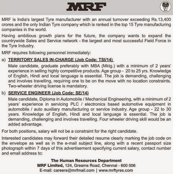 MRF Territory Sales in Charge and Service Engineer Jobs
