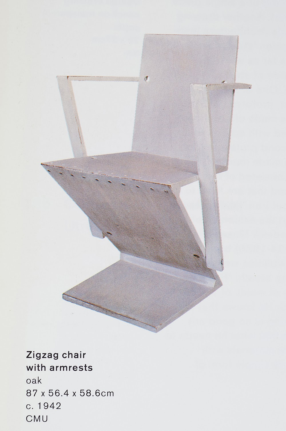 During The 1930u0027s And 40u0027s Rietveld Devised A Number Of Variations On The Zig  Zag Chair. Some Had Arm Rests And Holes In The Back, Some Were Different In  ...