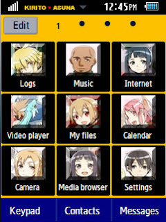 Anime Kirito and Asuna Samsung Corby 2 Theme Menu