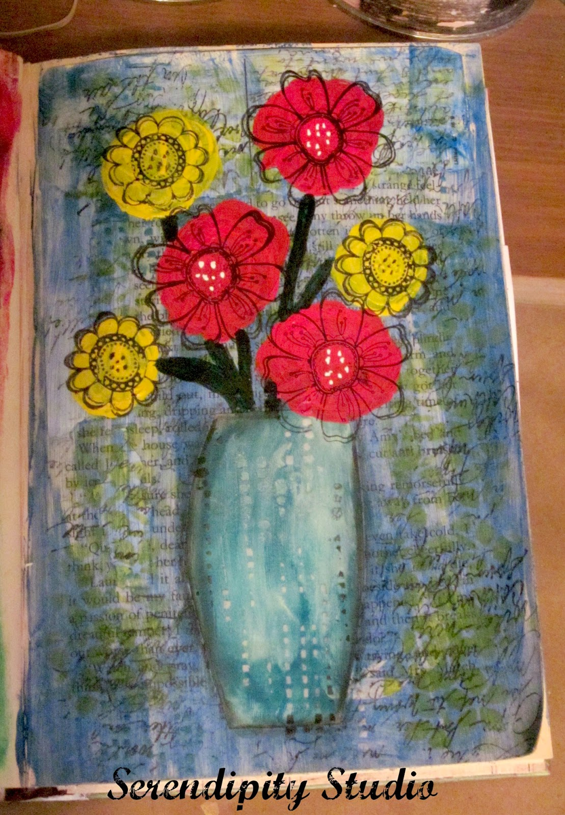 art journal, flowers, media line fluid paints, decoart