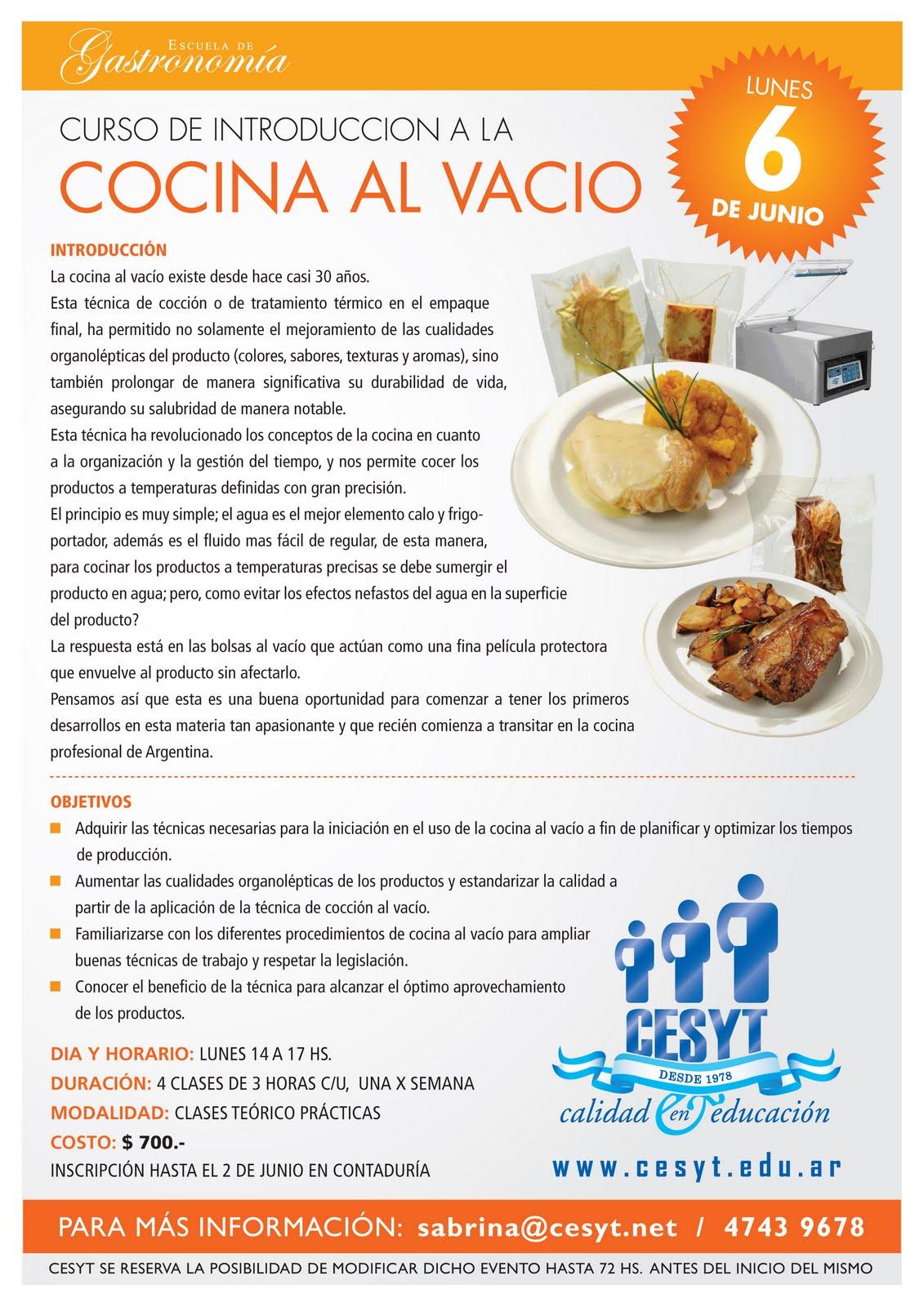 Gastronom a curso de introducci n a la cocina al vac o for Introduccion a la gastronomia pdf