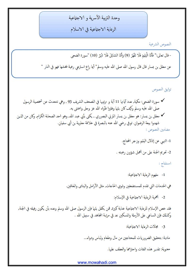الرعاية الاجتماعية في الاسلام