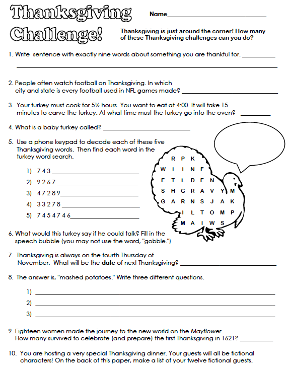Thanksgiving worksheets middle school