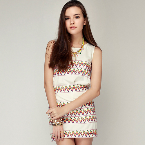 Aztec Embroidered Top & Skirt Set