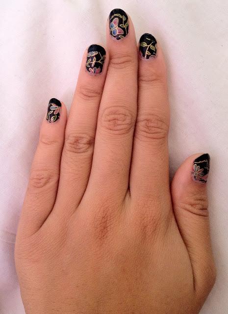 nail foils, rio professional nail foils kit, rio nails, eyes lips fce, E.L.F., elf, matte nail varnish, matte polish, matte effect nail polish, matte effect, floral nail art, nail art, floral nail foils