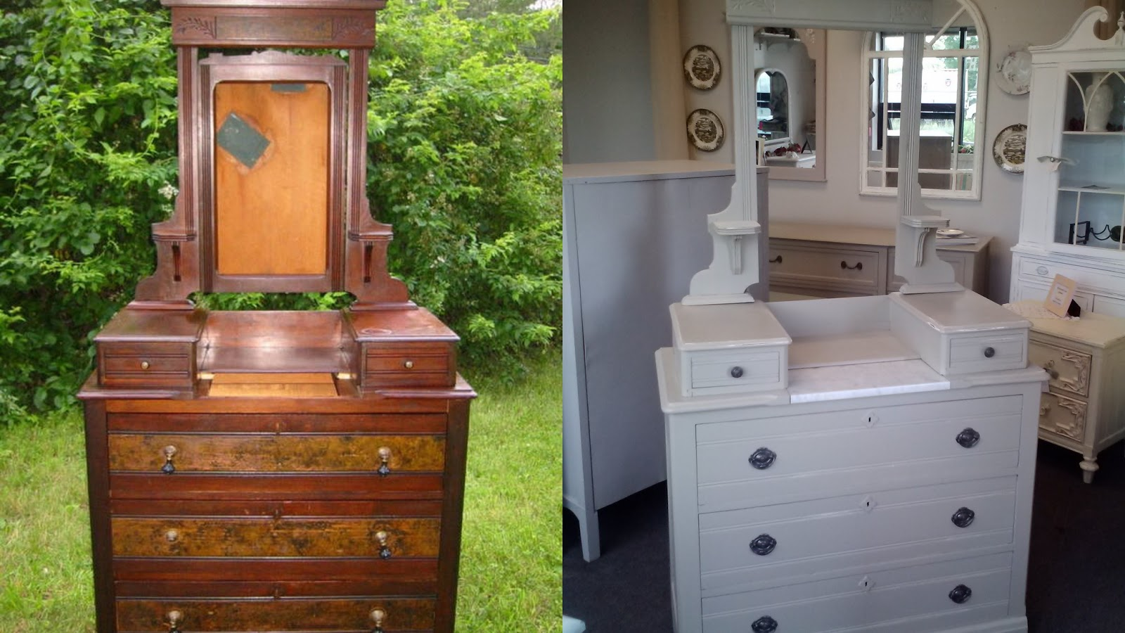 Painting furniture before and after - Painting Furniture Before And After Antique Dresser Painted Mega Greige With Vintage Pulls Painted Antique