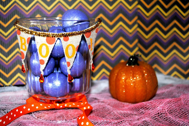 DIY Halloween Treat Cups, Sticker and Ribbon Embellishments