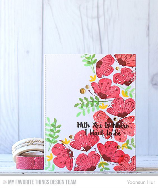 Where I Want to Be Card by Yoonsun Hur featuring the Sketched Blooms and Love You More stamp sets #mftstamps