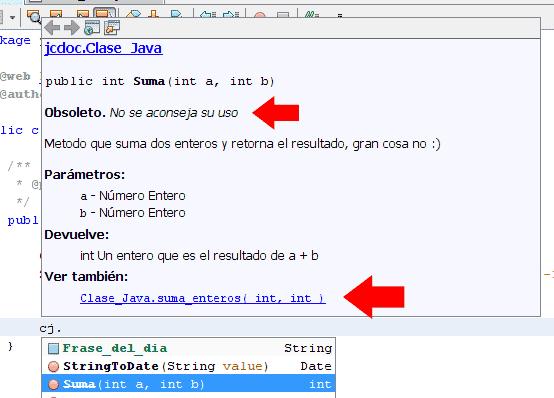 mouse: Creación y uso de Javadoc con Netbeans Javadoc String