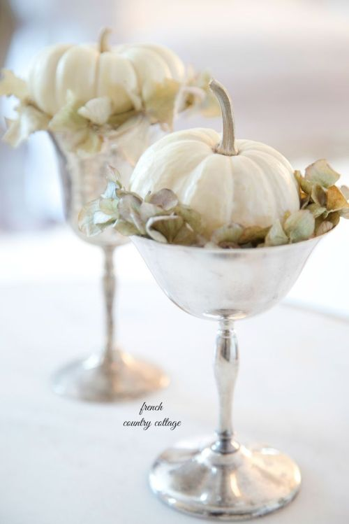 Lovely white pumkin and silver fall decor