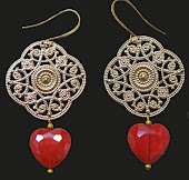 Red Heart Large Chandelier Earrings Glass Crystal Beads XL