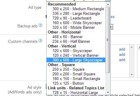 AdSense biggest 300x600 Ad size