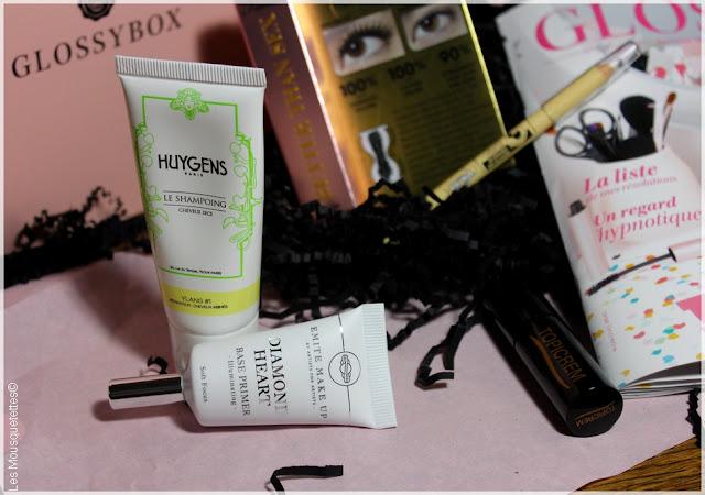 Glossybox janvier 2016 - L'Atelier du Bonheur - Shampoing Huygens, Base maquillage Émite Make Up - Les Mousquetettes©