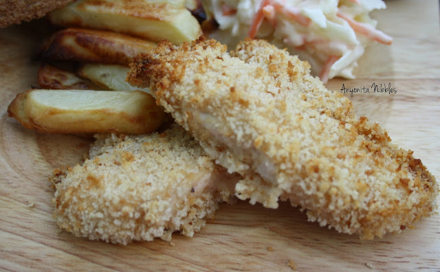 Oven baked breaded chicken strips from www.anyonita-nibbles.com